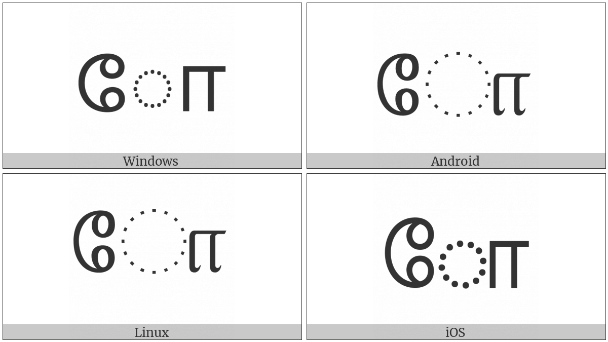 Tamil Vowel Sign Oo on various operating systems