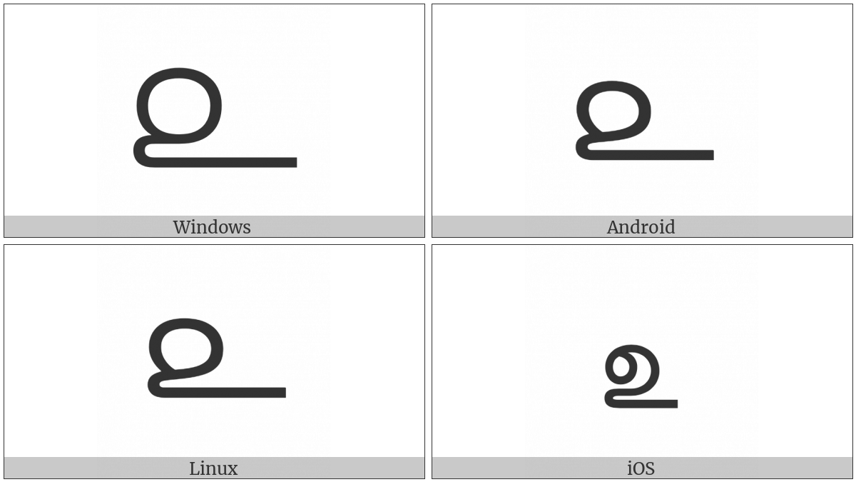 Tamil Digit Two on various operating systems