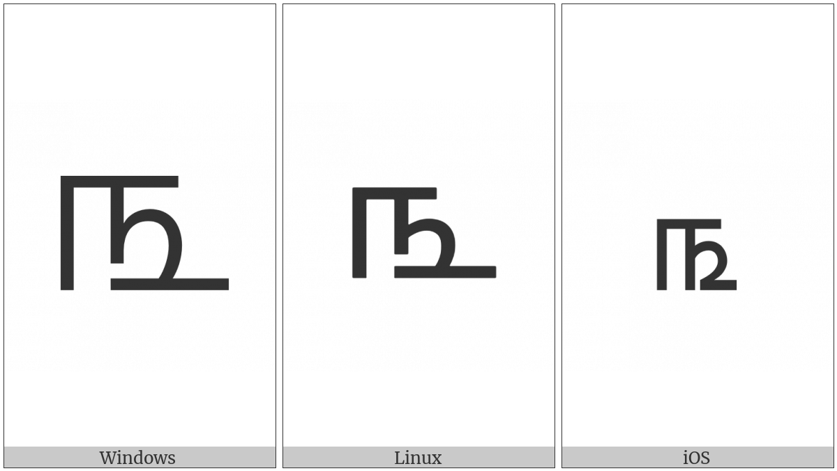 Tamil Digit Three on various operating systems