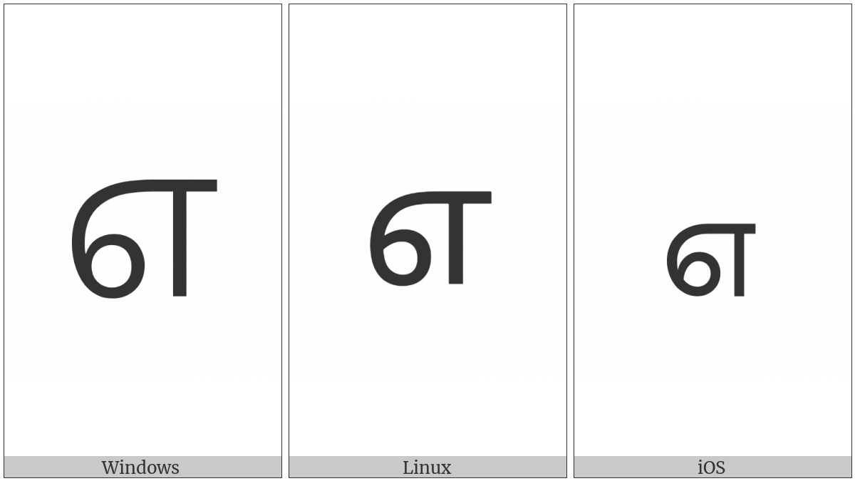 Tamil Digit Seven on various operating systems