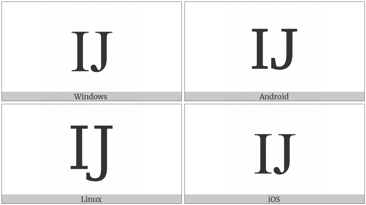 Latin Capital Ligature Ij on various operating systems