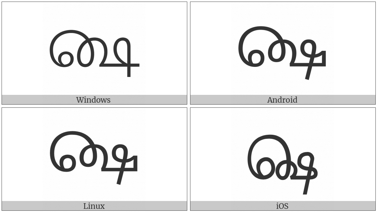 Tamil As Above Sign on various operating systems