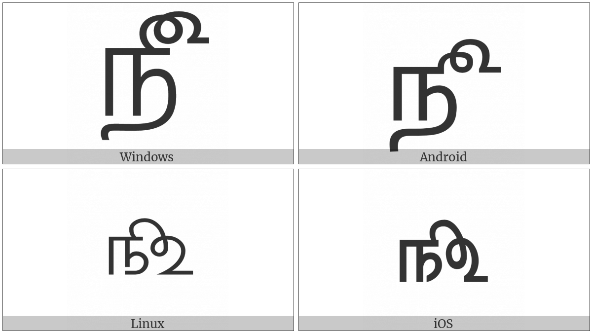 Tamil Number Sign on various operating systems