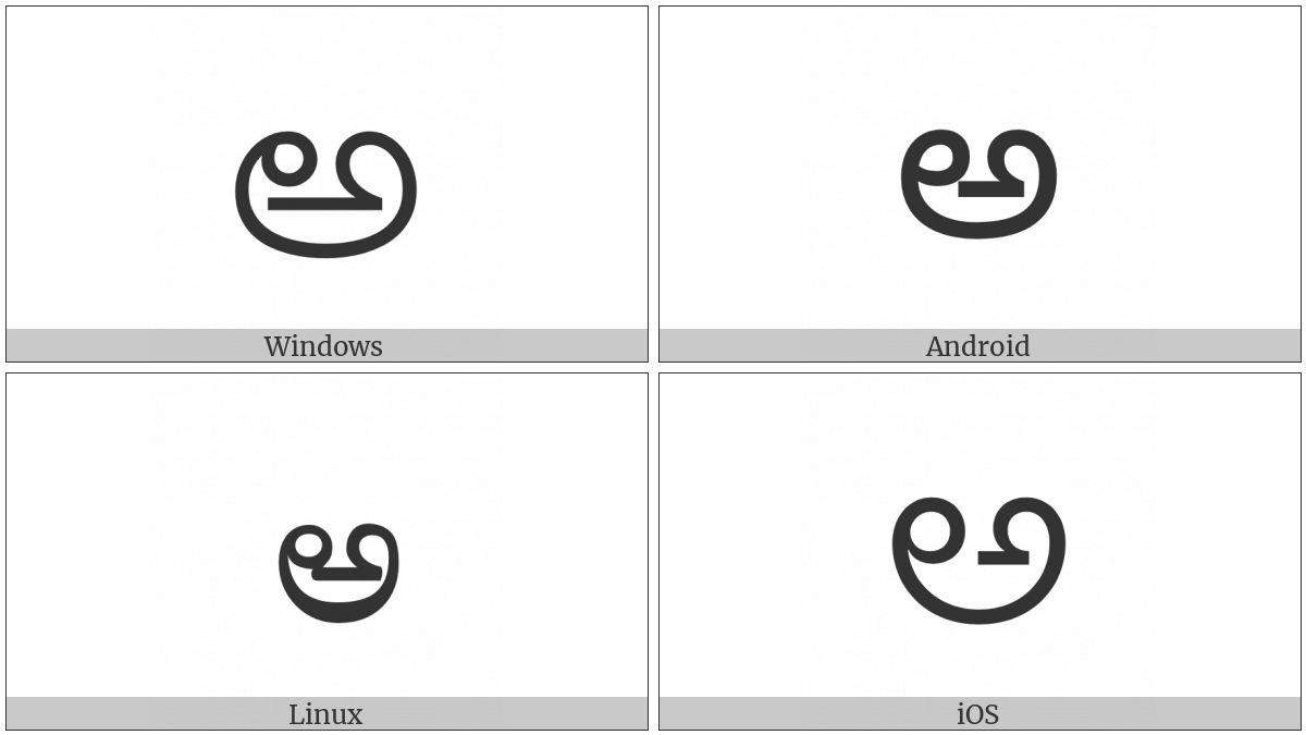 Telugu Letter A on various operating systems