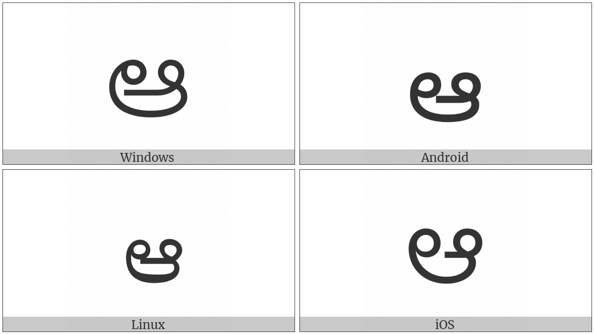 Telugu Letter Aa on various operating systems