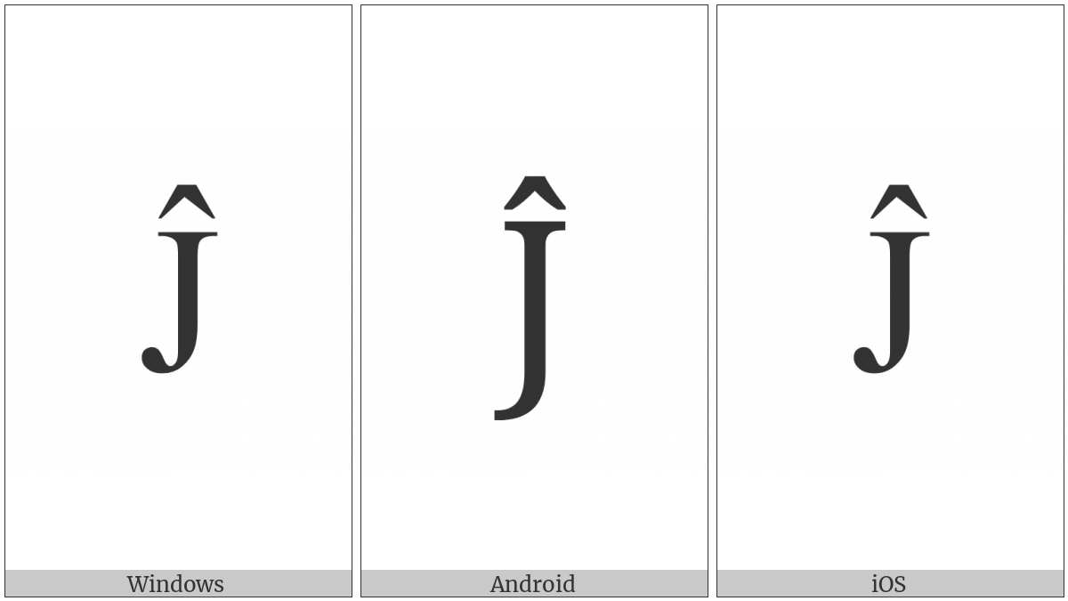 LATIN CAPITAL LETTER J WITH CIRCUMFLEX utf-8 character