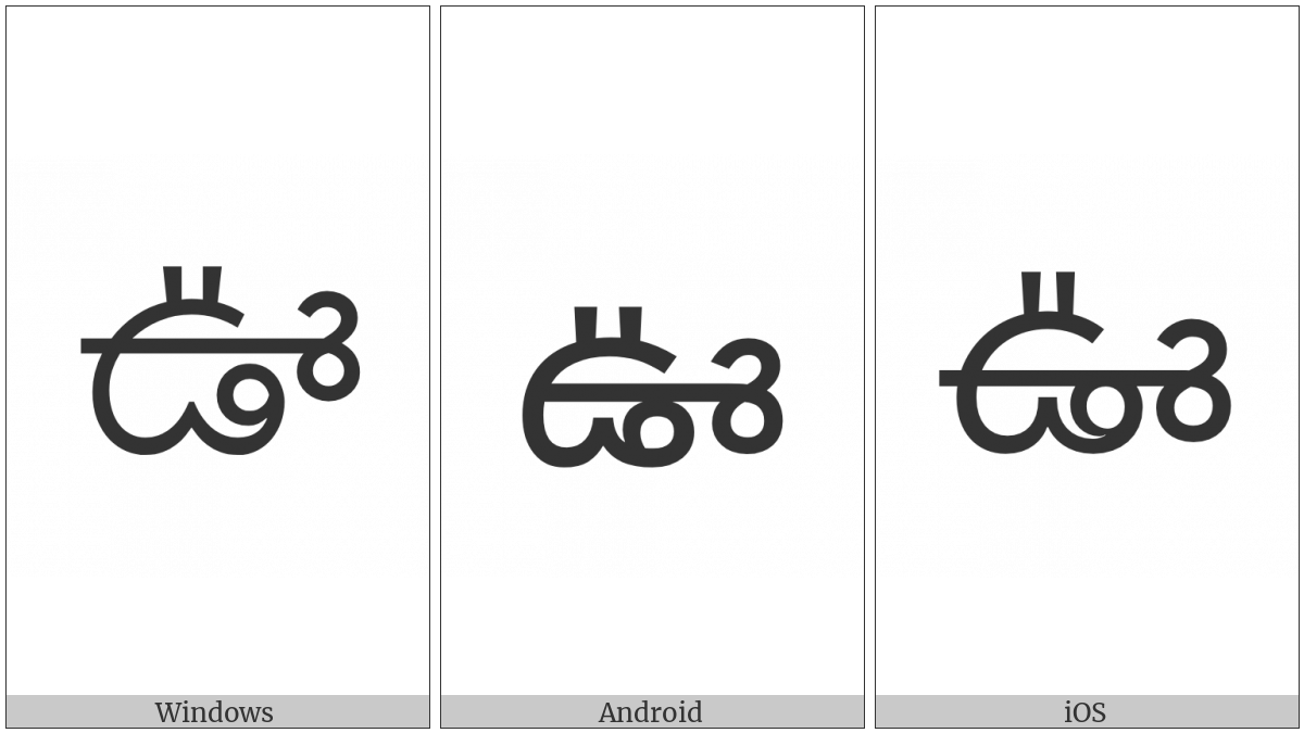 Telugu Letter Uu on various operating systems