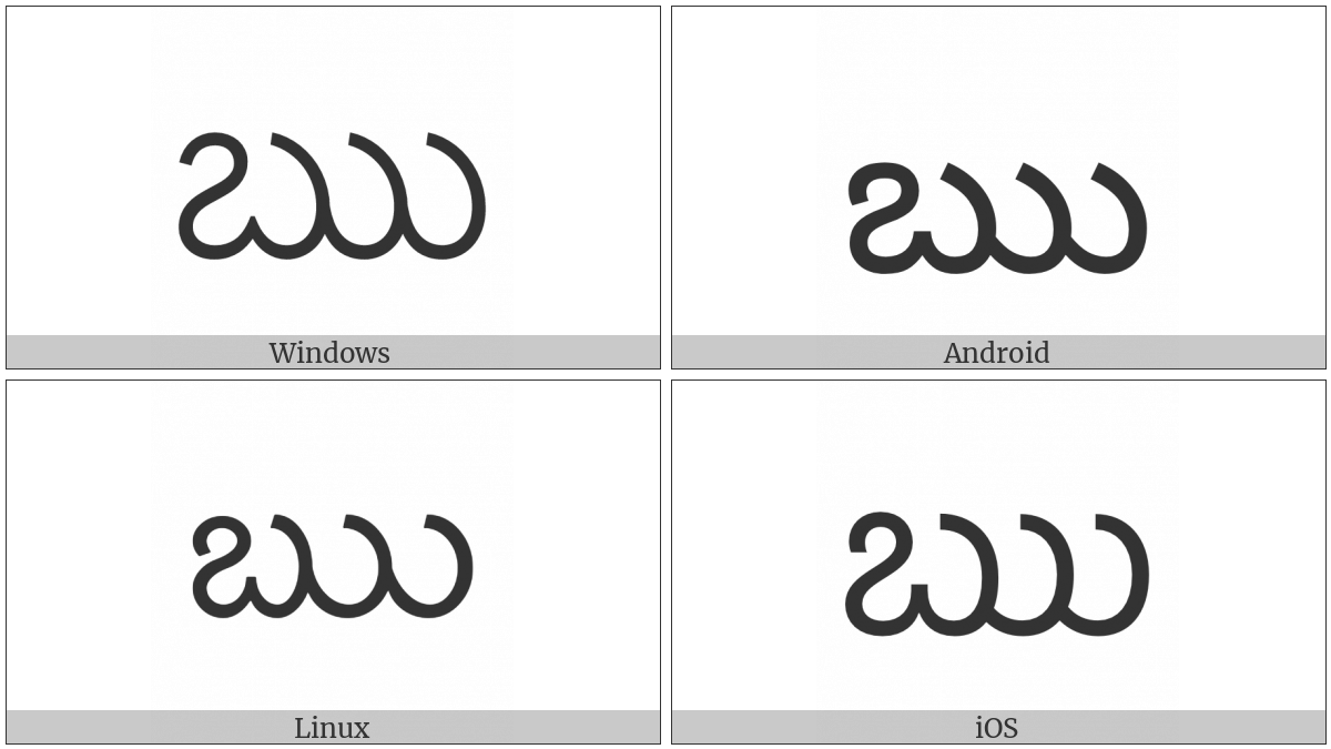 Telugu Letter Vocalic R on various operating systems