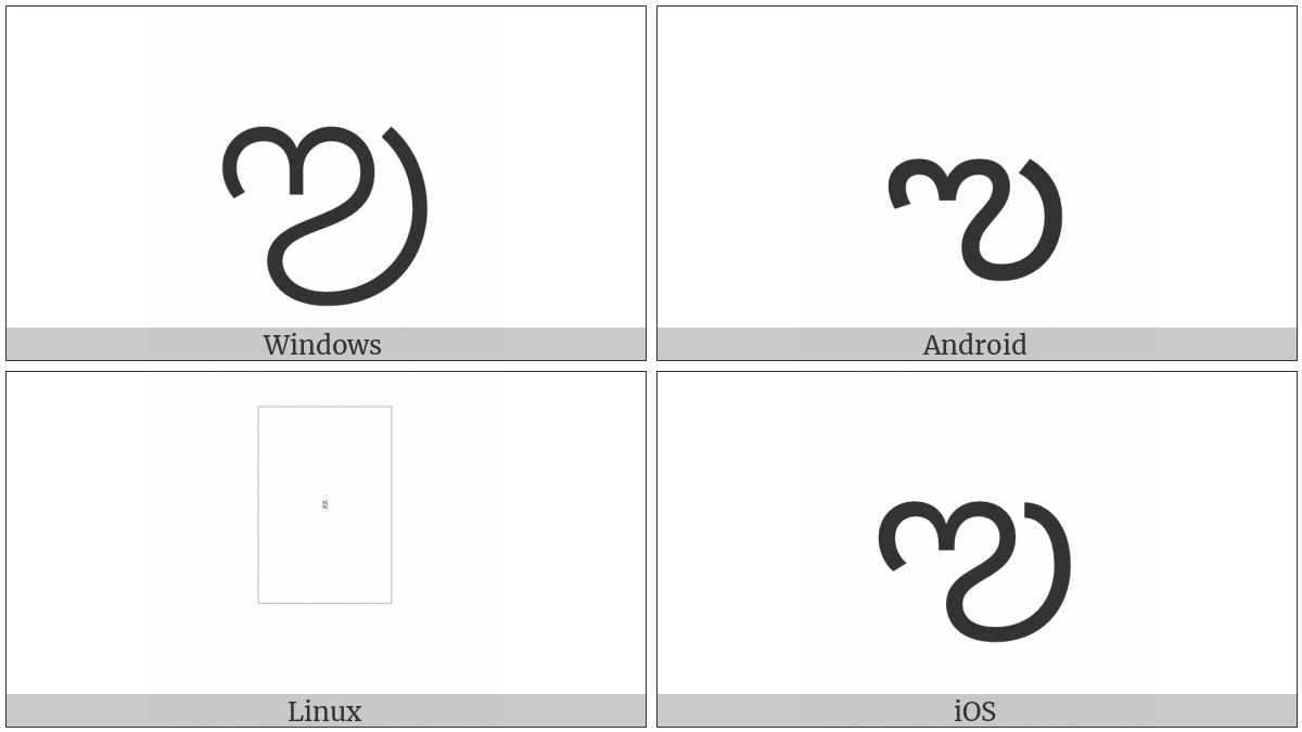 Telugu Letter Vocalic L on various operating systems