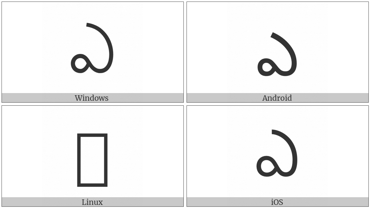 Telugu Letter E on various operating systems