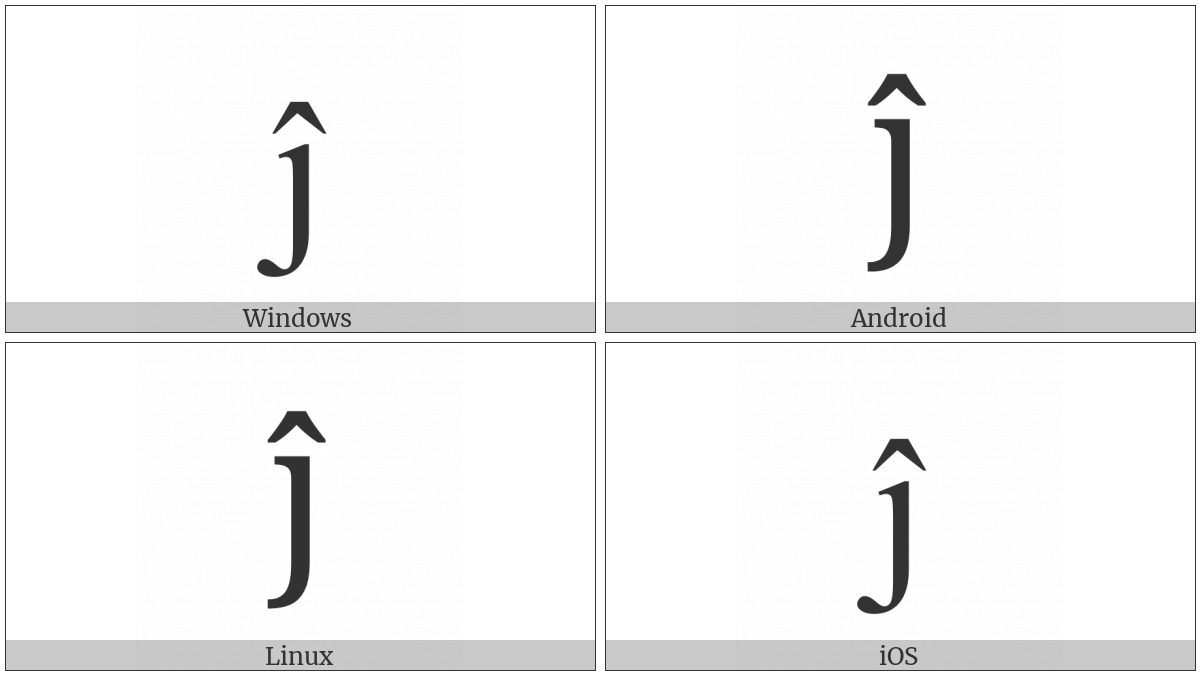 Latin Small Letter J With Circumflex on various operating systems