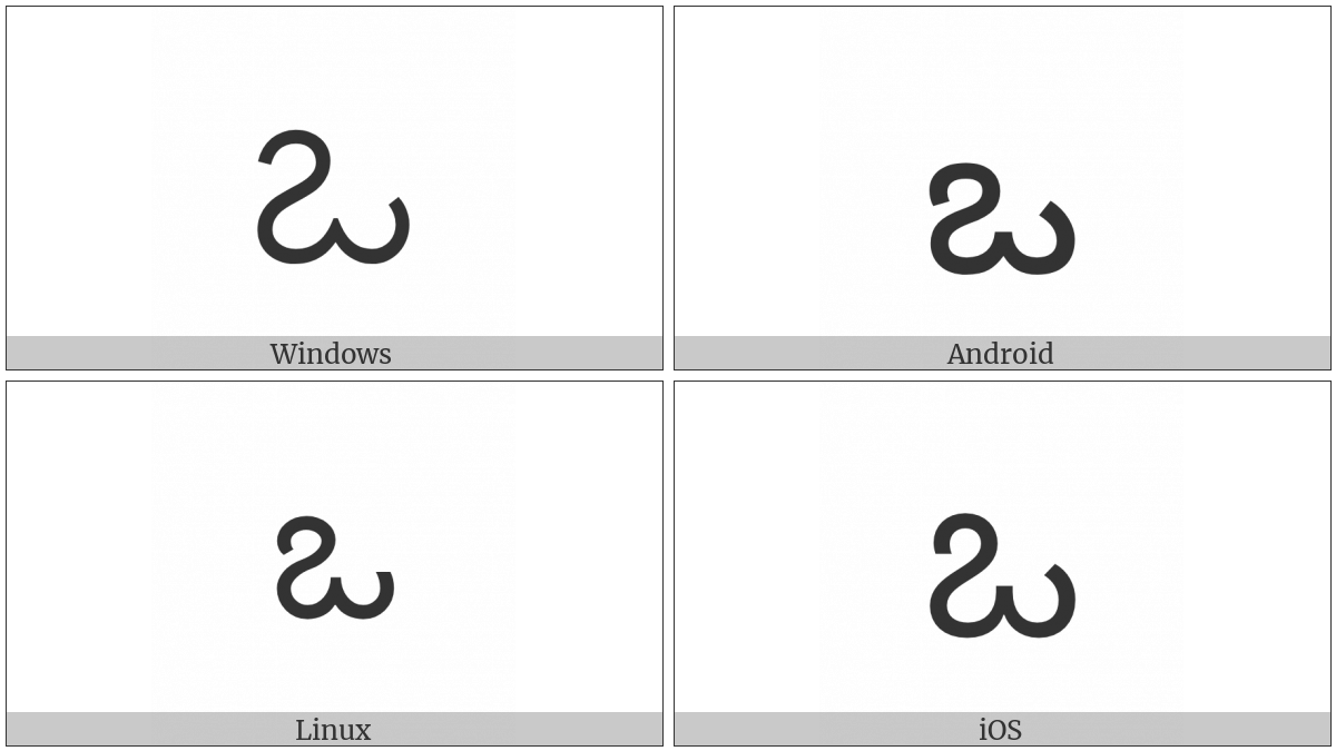 Telugu Letter O on various operating systems