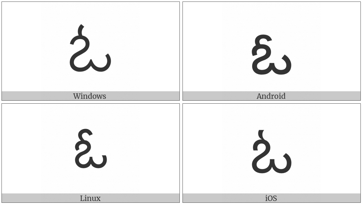 Telugu Letter Oo on various operating systems