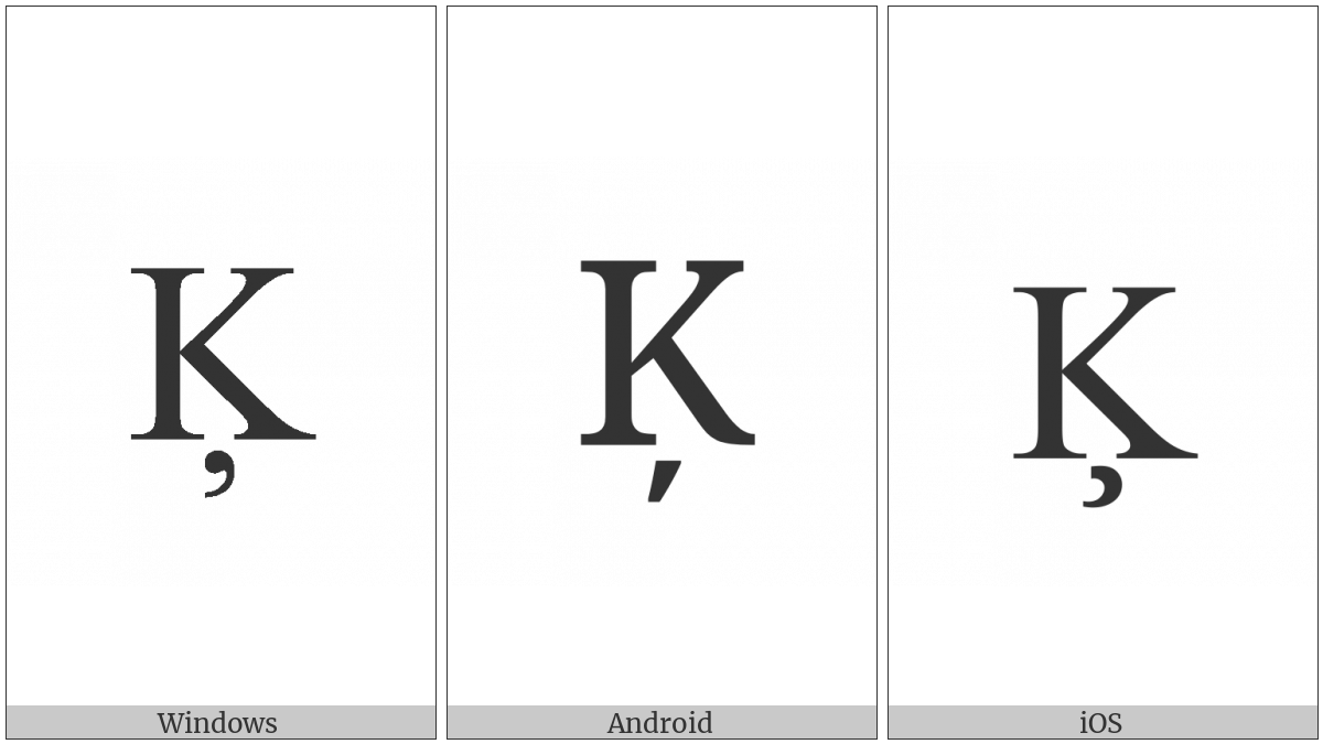 Latin Capital Letter K With Cedilla on various operating systems