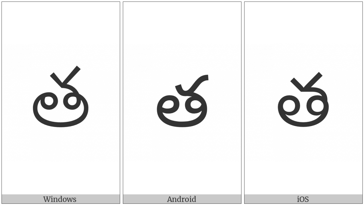 Telugu Letter Ta on various operating systems