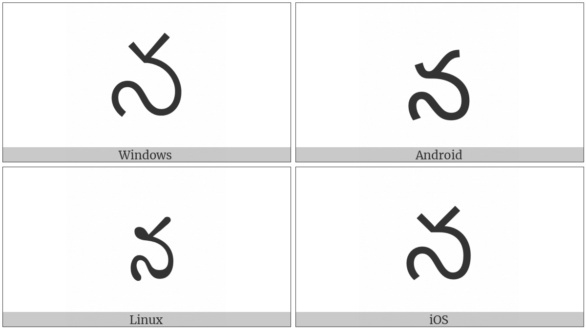 Telugu Letter Na on various operating systems