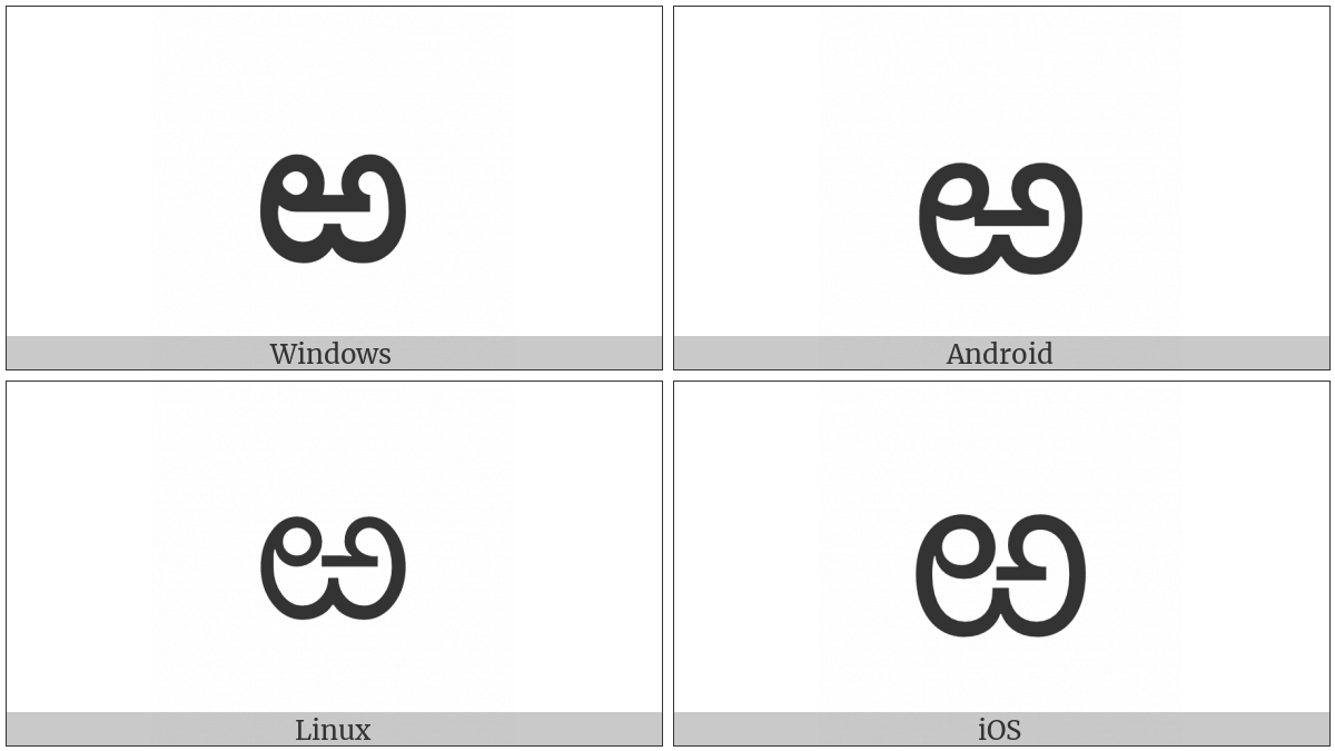 Telugu Letter Rra on various operating systems