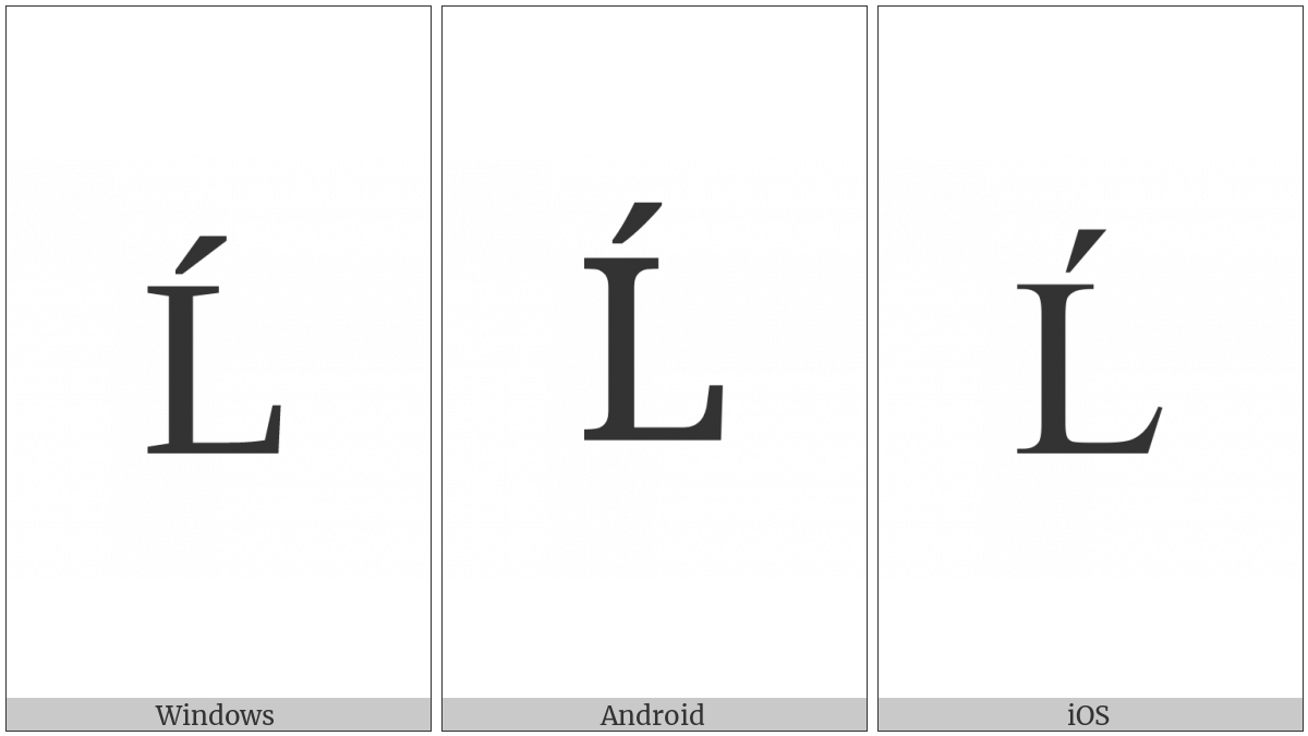 Latin Capital Letter L With Acute on various operating systems