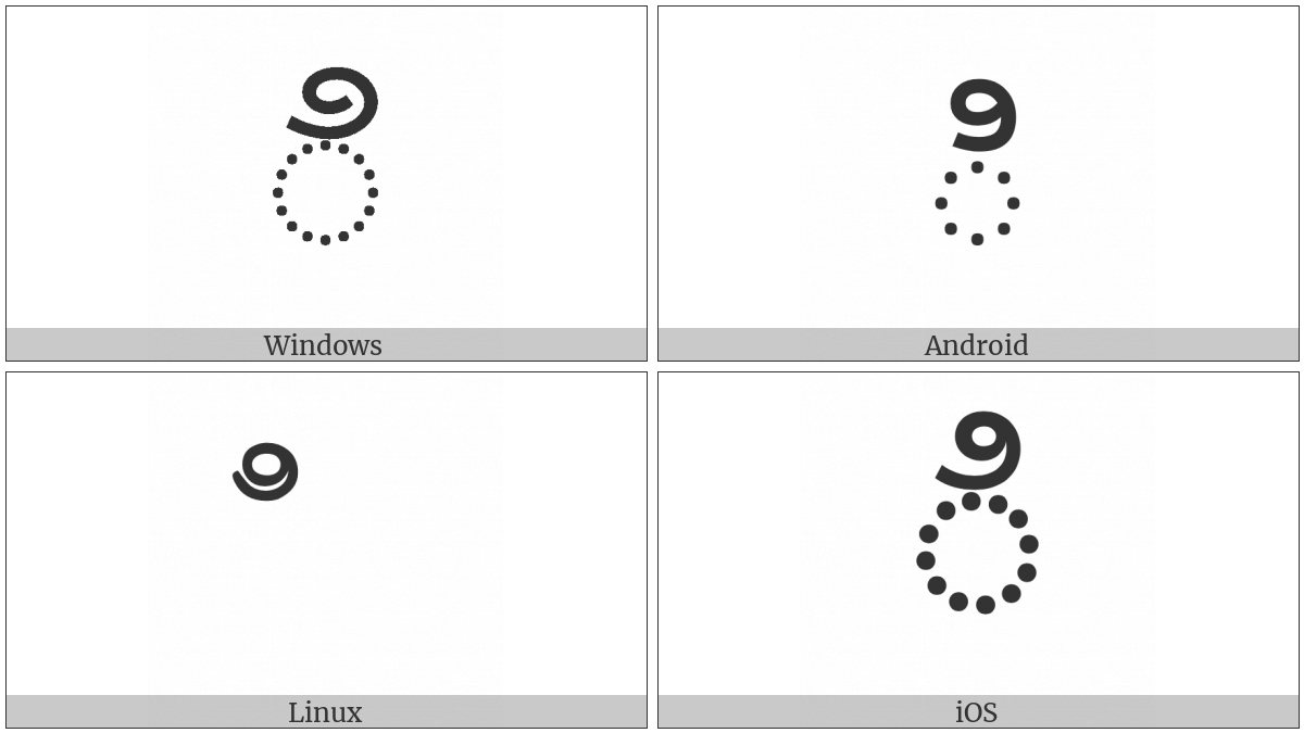 Telugu Vowel Sign I on various operating systems