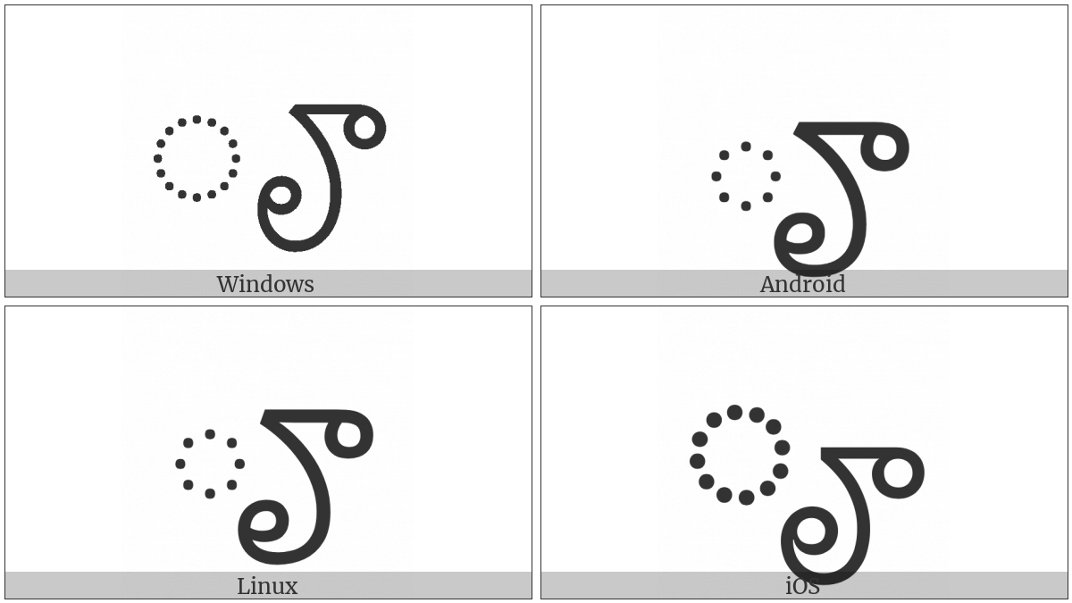 Telugu Vowel Sign Vocalic Rr on various operating systems