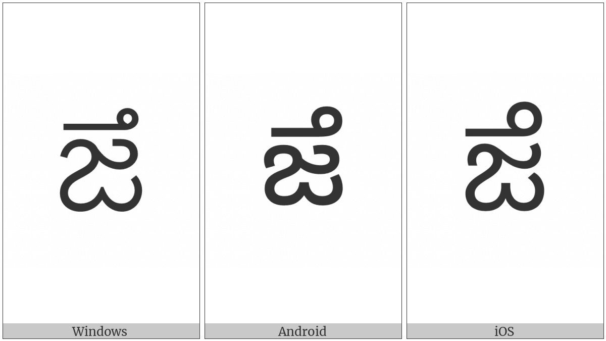 Telugu Letter Dza on various operating systems