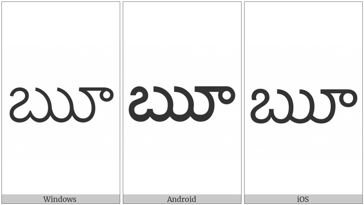 Telugu Letter Vocalic Rr on various operating systems