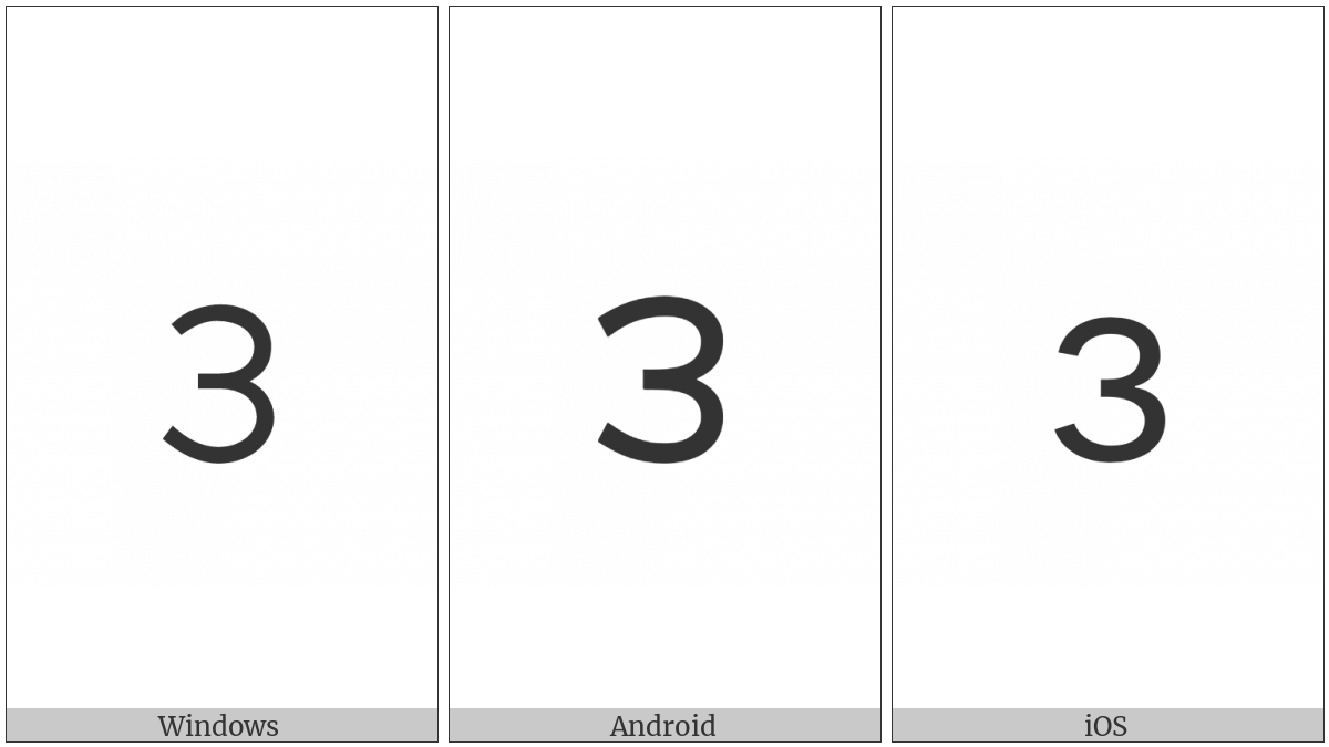 Telugu Digit Three on various operating systems