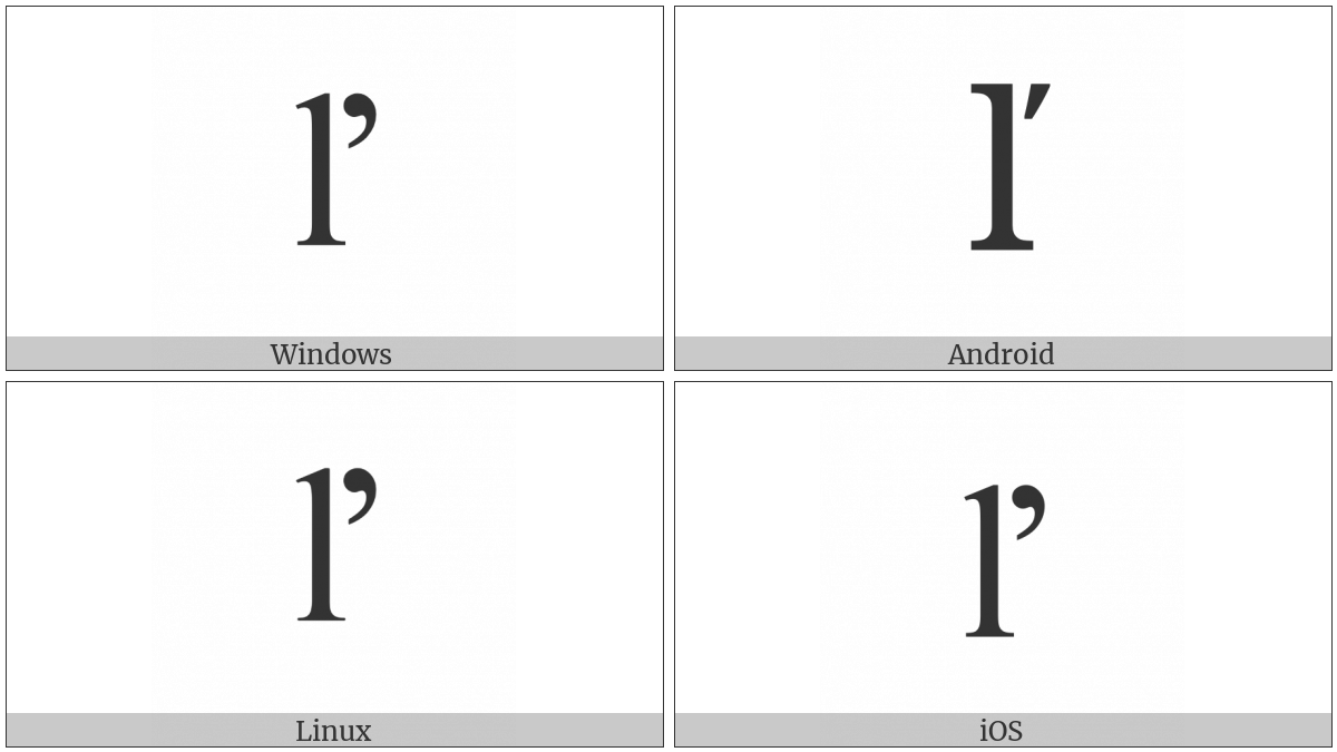 Latin Small Letter L With Caron on various operating systems