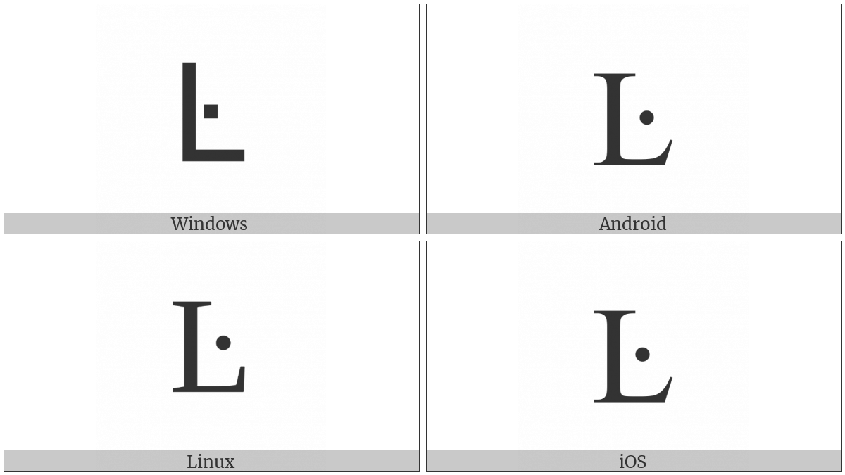 Latin Capital Letter L With Middle Dot on various operating systems