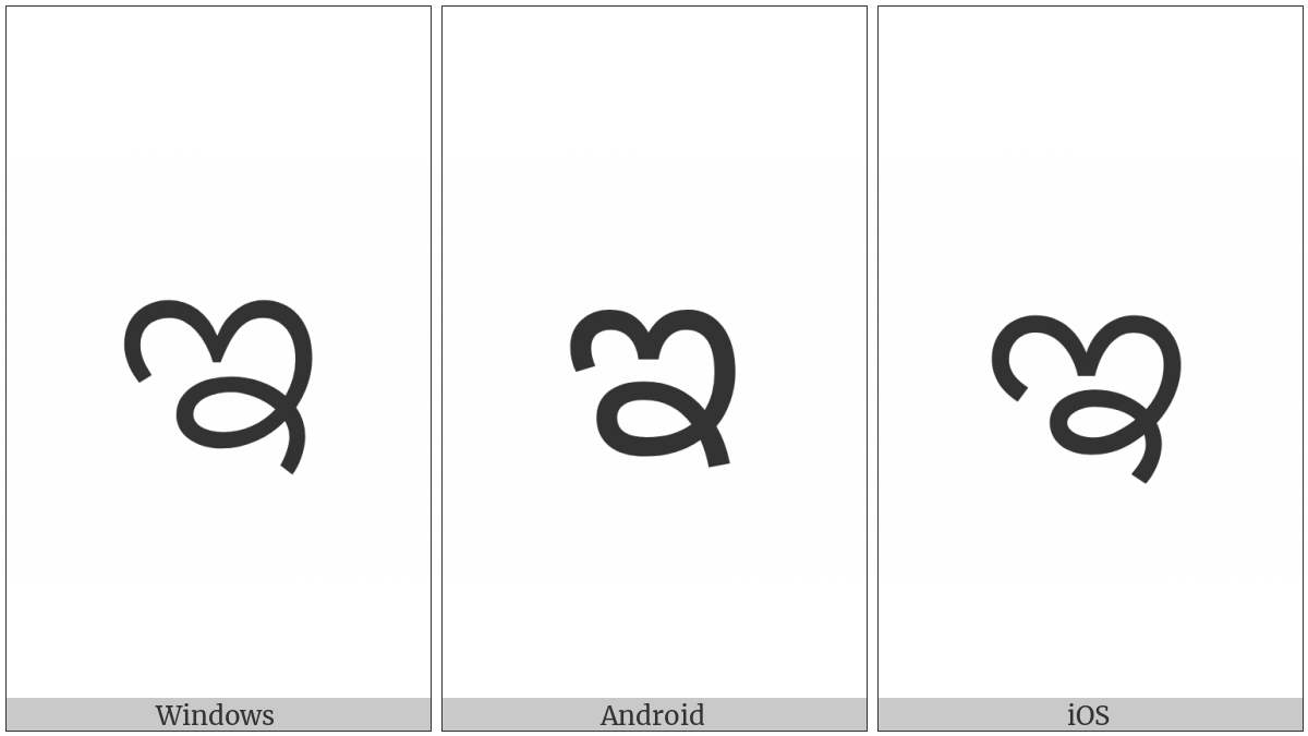 Kannada Letter I on various operating systems