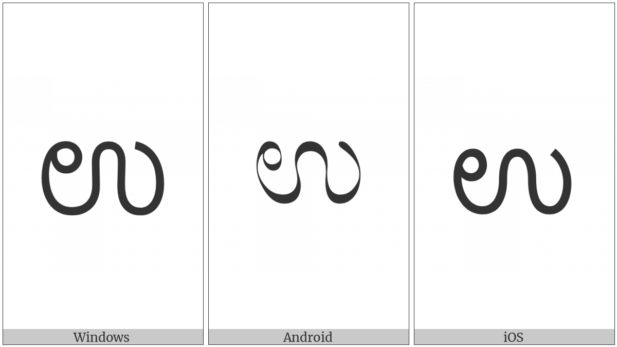 Kannada Letter U on various operating systems