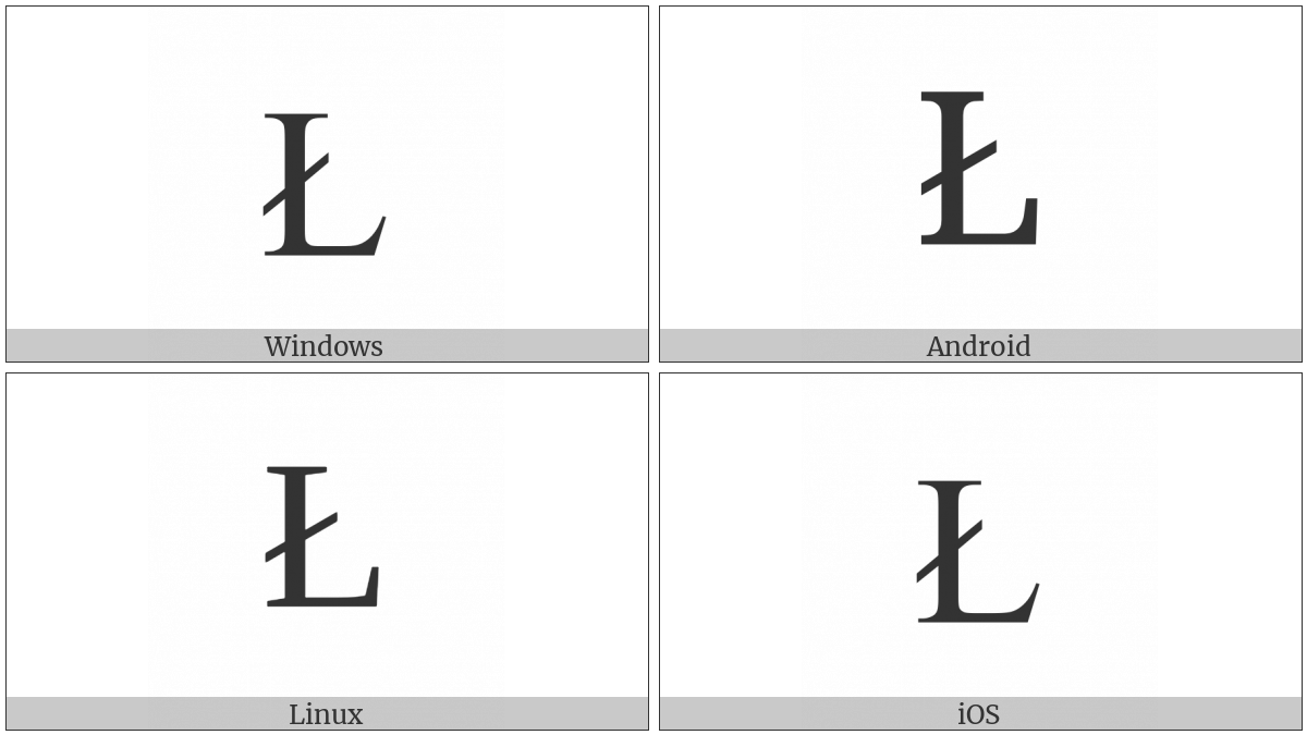 Latin Capital Letter L With Stroke on various operating systems