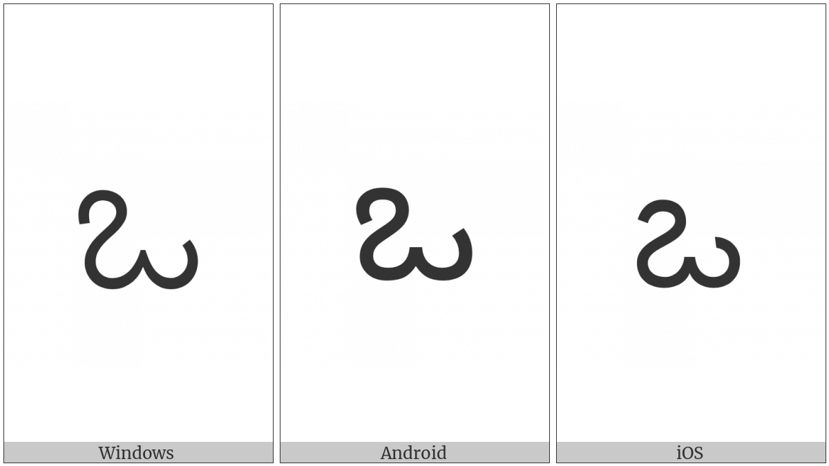Kannada Letter O on various operating systems