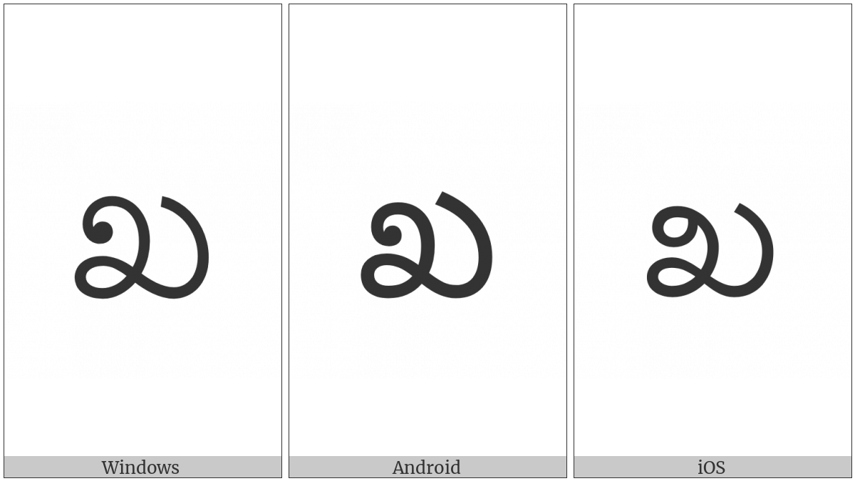 Kannada Letter Kha on various operating systems