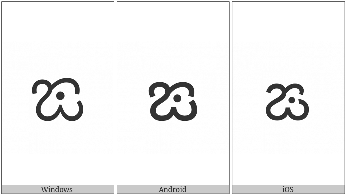 Kannada Letter Nga on various operating systems