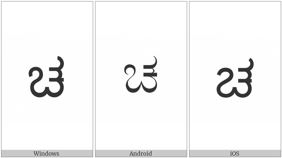 Kannada Letter Ca on various operating systems