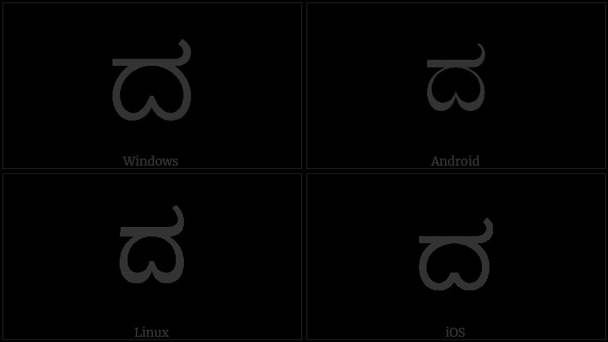 Kannada Letter Da on various operating systems