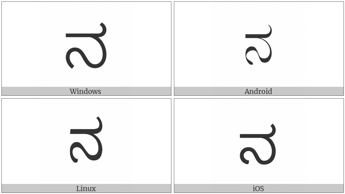 Kannada Letter Na on various operating systems