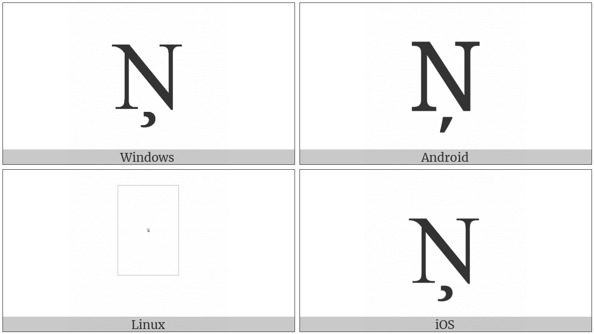 Latin Capital Letter N With Cedilla on various operating systems