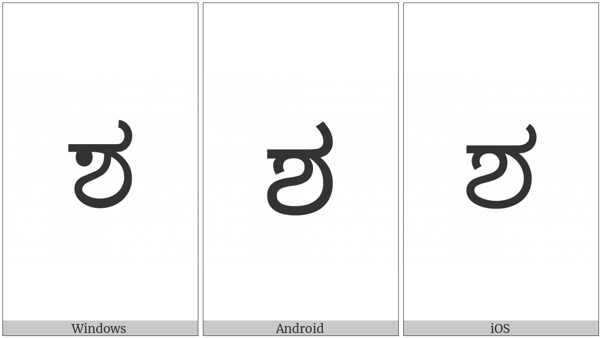 Kannada Letter Sha on various operating systems