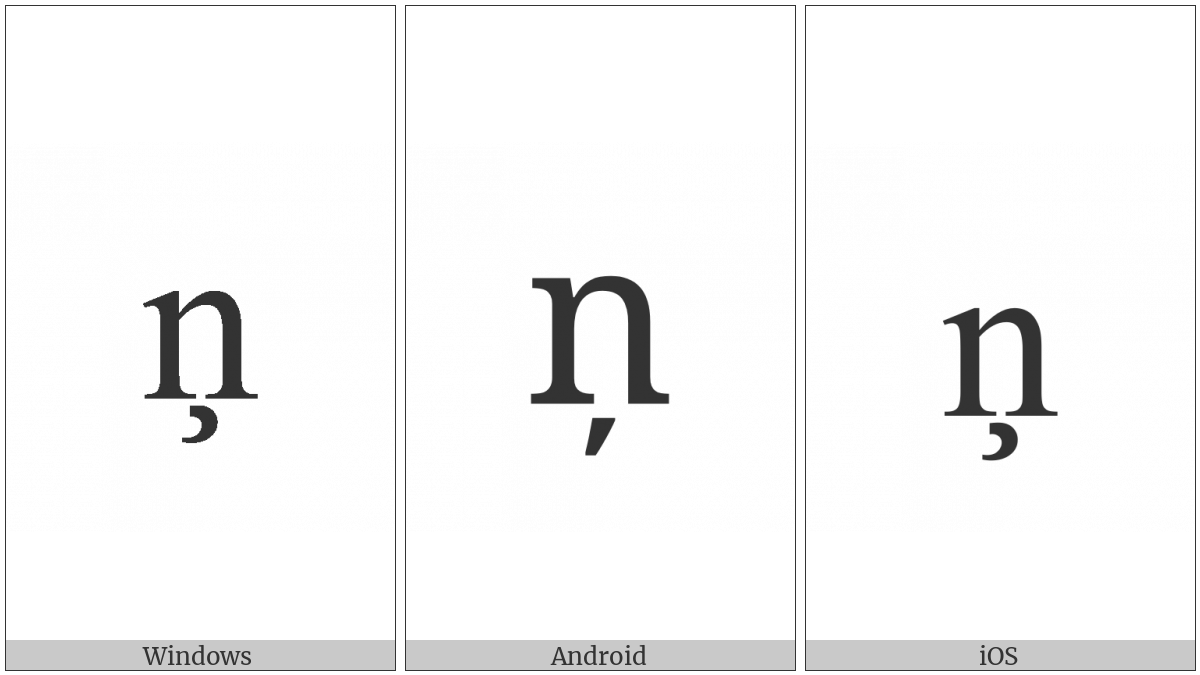 Latin Small Letter N With Cedilla on various operating systems