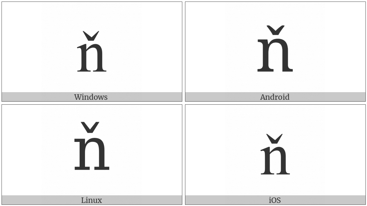 Latin Small Letter N With Caron on various operating systems
