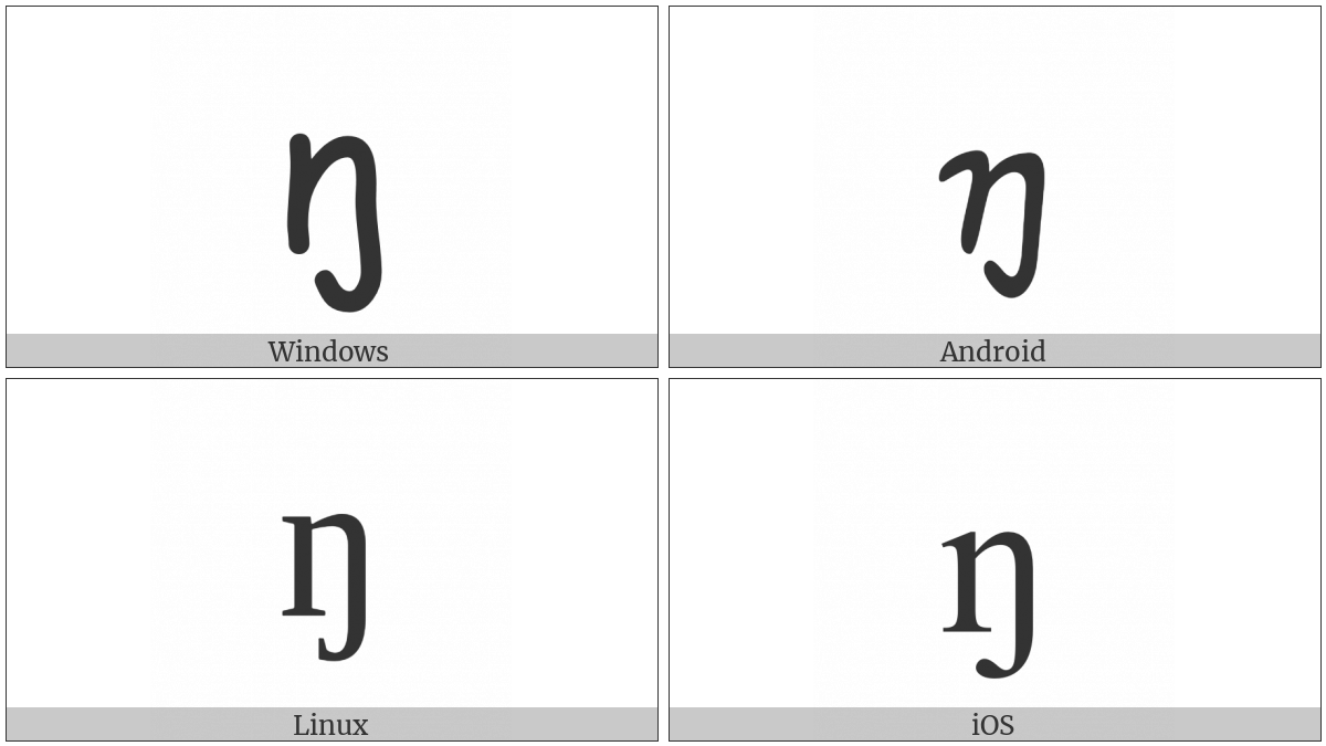 Latin Small Letter Eng on various operating systems