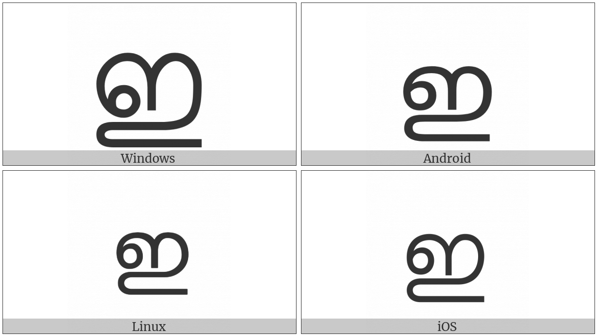 Malayalam Letter I on various operating systems