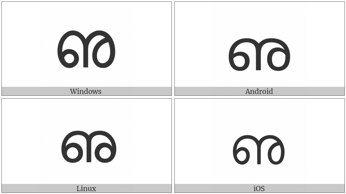 Malayalam Letter Vocalic L on various operating systems