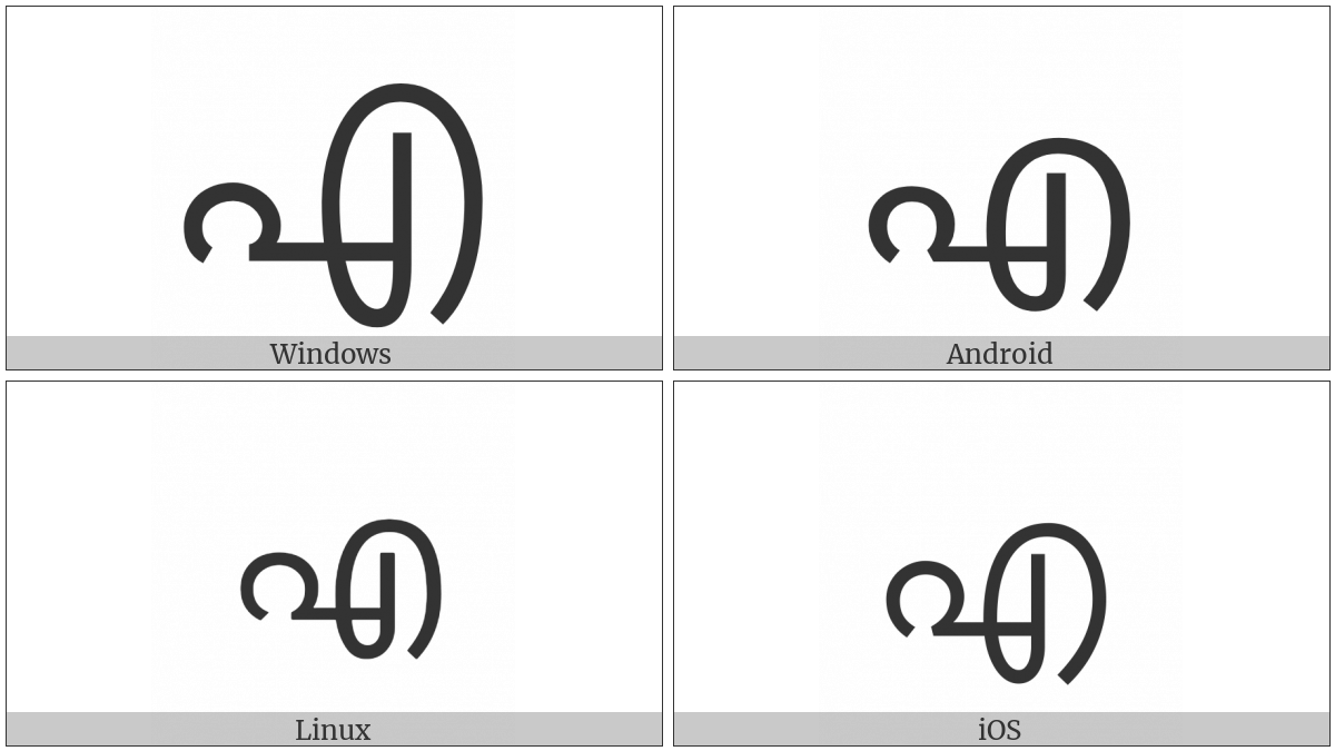 Malayalam Letter E on various operating systems
