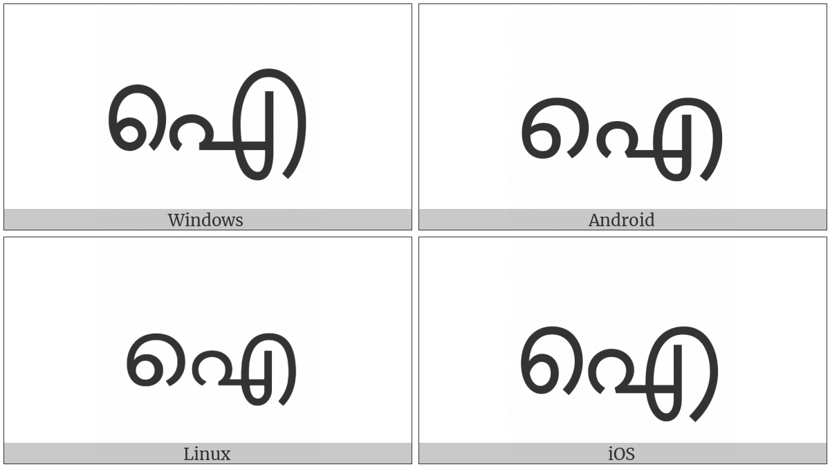 Malayalam Letter Ai on various operating systems
