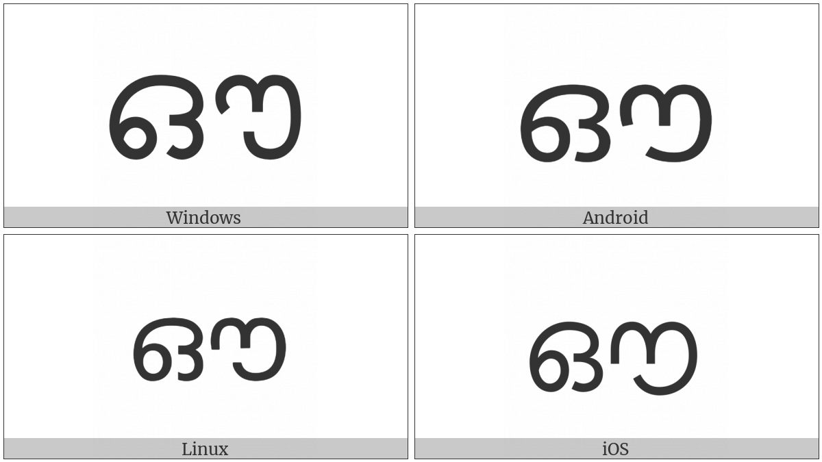 Malayalam Letter Au on various operating systems