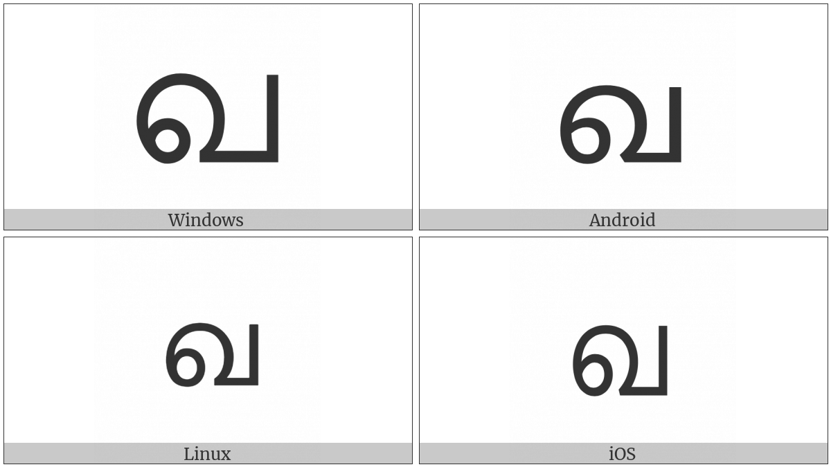 Malayalam Letter Kha on various operating systems