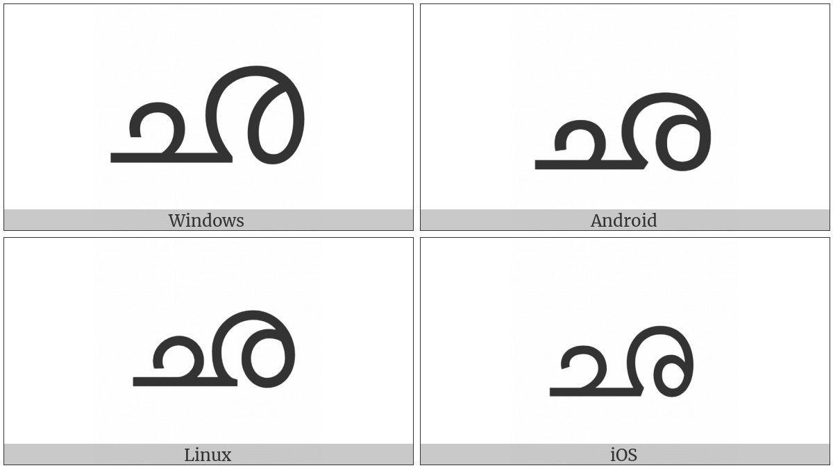 Malayalam Letter Cha on various operating systems